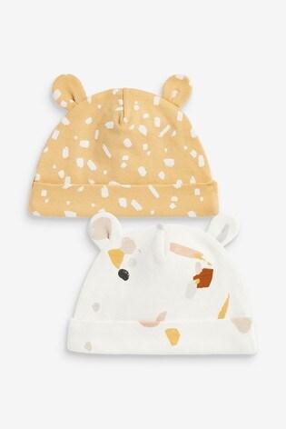 Pastel Print 2 Pack Beanie Hats (0-18mths)