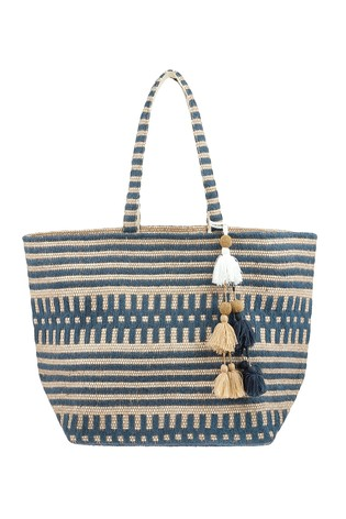 Accessorize Blue Willow Woven Beach Tote