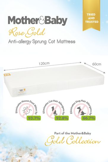 Mother&Baby Rose Gold Anti Allergy Sprung Cot Mattress
