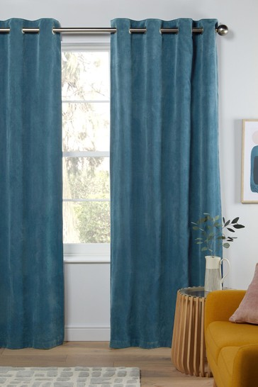Blue Soft Velour Eyelet Lined Curtains