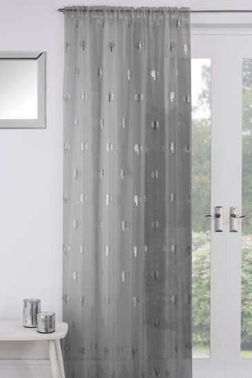 Tyrone Silver Birch Sheer Panel Voile