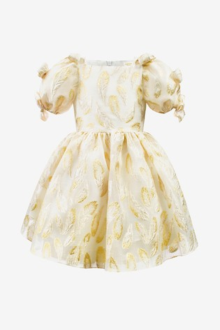 David Charles Gold/Ivory Metallic Organza Party Dress