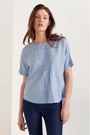 White Stuff Blue Scatter Top