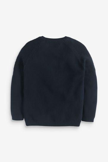 Navy Without Stag Textured Crew Jumper (3-16yrs)