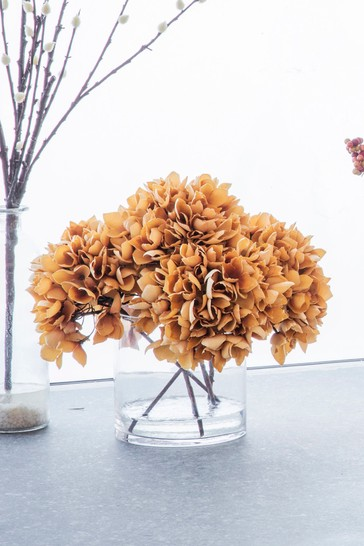 Autumn Hydrangea With Glass Vase by Gallery Direct
