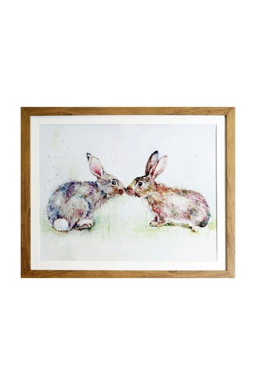 Kissing Rabbits Framed Print by Arthouse