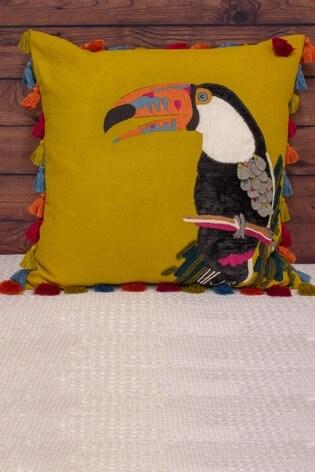 Toucan Velvet Tassell Cushion by Riva Home