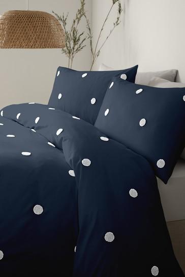 Appletree White Dot Garden Tufted Duvet Cover and Pillowcase Set