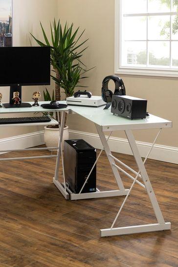 Banbury Designs White 51 Modern, White Glass Computer Desk