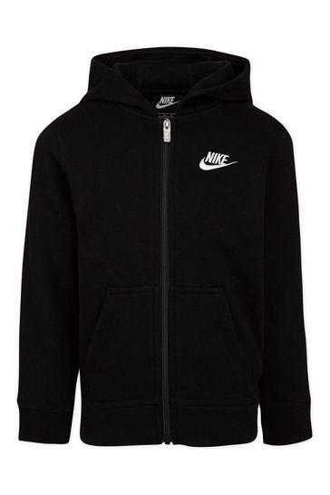Nike Little Kids Black Club Fleece Full Zip Hoodie