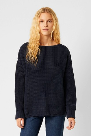 French Connection Blue Mozart Knits Slash Neck Jumper