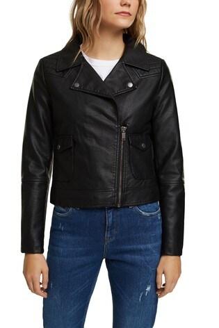 Esprit Black Vegan Faux Leather Biker Jacket