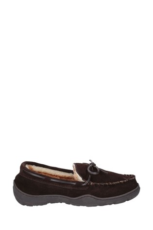 Cotswold Brown Nibley Slip-On Slippers