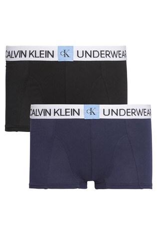 Calvin Klein Blue Minigram Trunks Two Pack