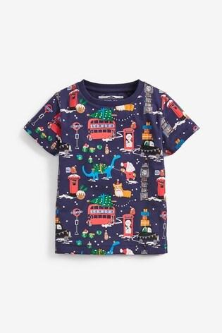 Navy Short Sleeve Christmas Printed T-Shirt (3mths-7yrs)