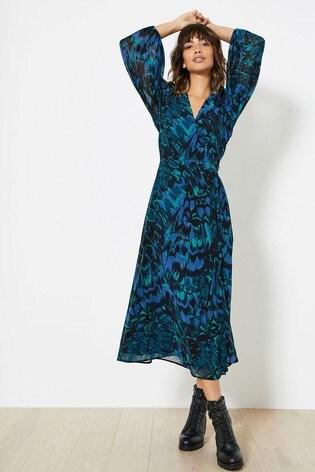 Mint Velvet Alma Print Wrap Midi Dress