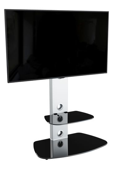 AVF Lucerne Curved Pedestal TV Stand 700 Silver / Black Glass