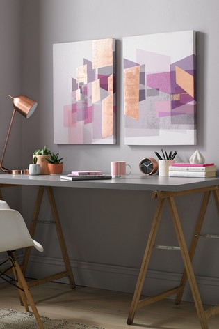 Set of 2 Rose Gold Geo Wall Art by Art For The Home