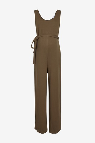 Khaki Maternity Ribbed Jersey Jumpsuit