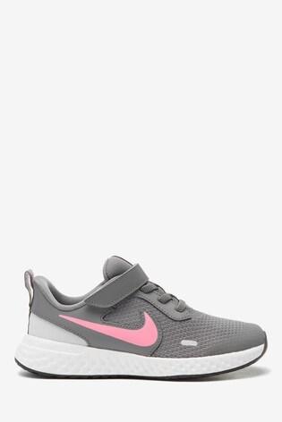 Nike Run Grey/Pink Revolution 5 Junior Trainers