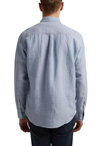 Esprit Blue Linen Blend Button-Down Shirt