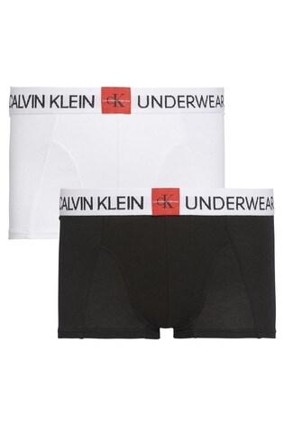 Calvin Klein Black Minigram Trunks Two Pack