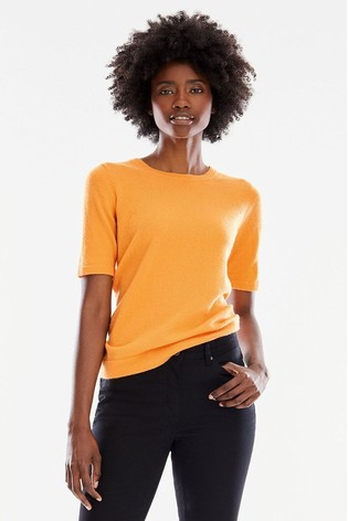 Pure Collection Yellow Cashmere T-Shirt
