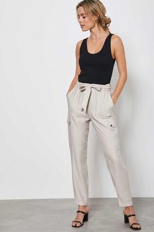 Mint Velvet Beige Belted Utility Trousers
