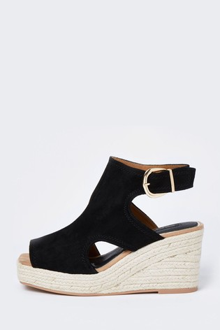 River Island Black Square Toe Cut-Out Shoe Boots