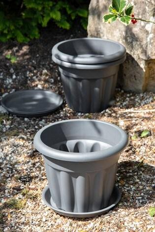 Set of 3 Wham Vista 33cm Plastic Round Planter And Tray