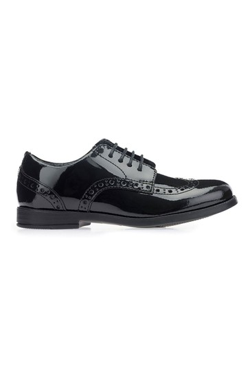 Start-Rite Brogue Snr Black Patent Wide Fit Leather Shoes