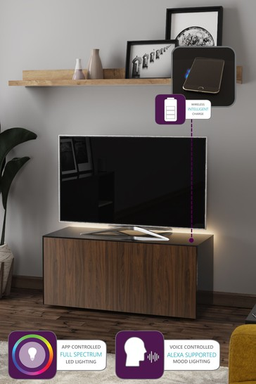 Frank Olsen Smart LED Black and Walnut Medium TV Unit