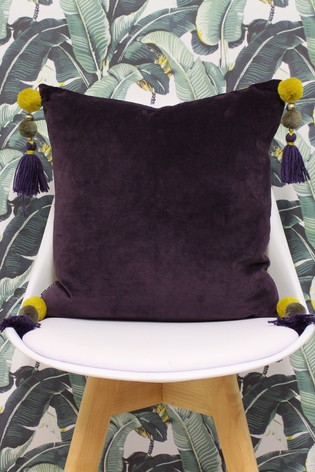 Riva Home Purple Poonam Reversible Tassels Cushion