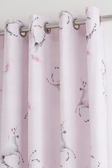Enchanted Unicorn Lined Eyelet Curtains by Catherine Lansfield