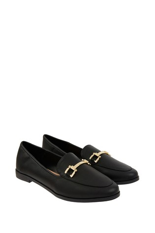 Accessorize Black Metal Detail Loafers