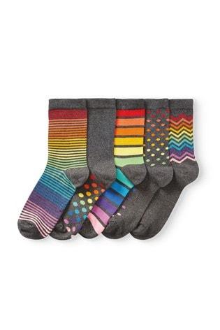 Rainbow Striped Ankle Socks Five Pack