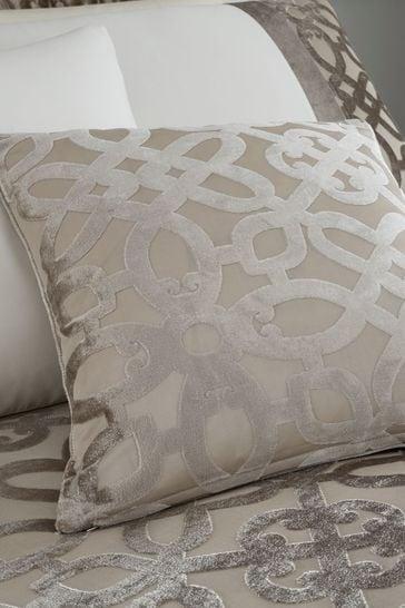 Lattice Cut Velvet Cushion by Catherine Lansfield