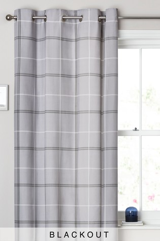 Eyelet Single Versatile Check Grey Curtain