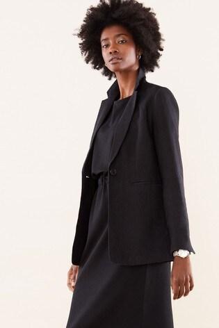 Pure Collection Black Longline Linen Blazer
