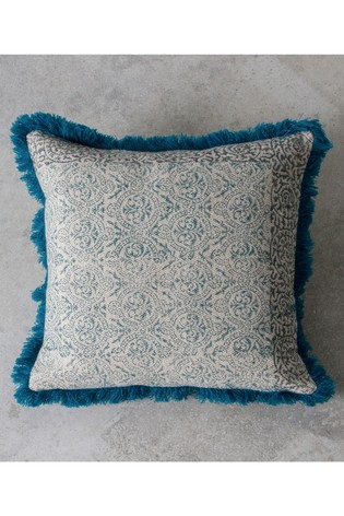 Gallery Direct Nakur Block Printed Fringed Cushion