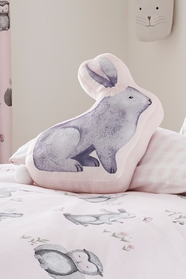Catherine Lansfield Pink Woodland Friends Bunny Cushion