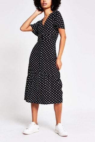 River Island Black V-Neck All Over Print Button Midi Dress