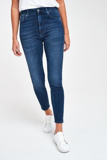 7 For All Mankind Dark Denim High Waisted Skinny Jeans