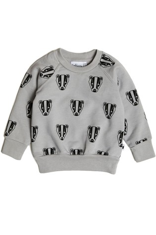 Tobias & The Bear Grey Boris The Badger Cotton Sweatshirt
