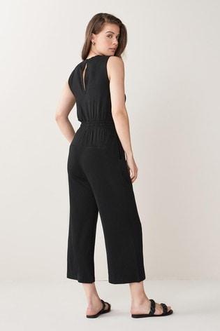 Black Jersey Cropped Jumpsuit