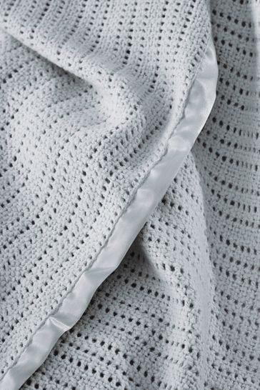 The White Company Grey Cellular Satin Blanket