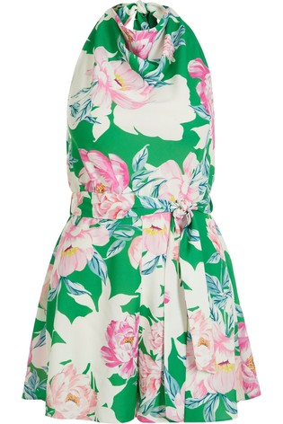 River Island Green Floral Cowl Neck Playsuit