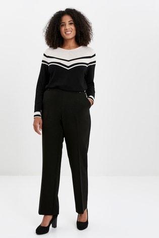 Evans Curve Black Workwear Stitch Detail Trousers