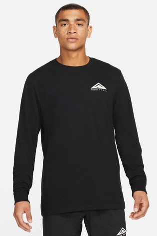 Nike DriFIT Black Long Sleeve Trail Running T-Shirt