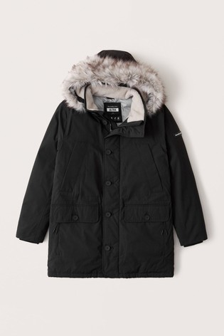 Abercrombie & Fitch Black Parka Coat